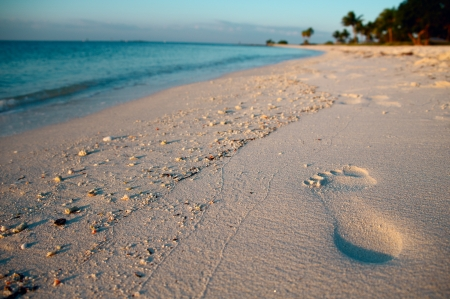 Footprint on sand of Sombrero Beach, Marathon Island, Florida Keys, USA. photo