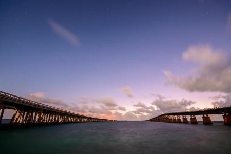 honda: Night landscape with two Bahia Honda Bridges on the Florida Keys