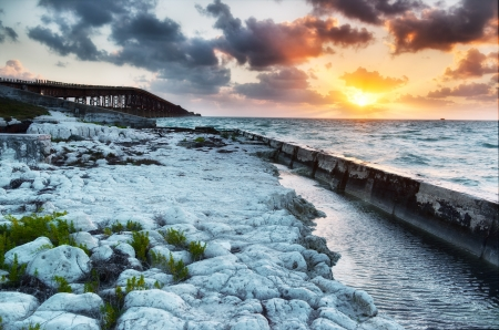 Old Bahia Honda Railroad bridge at sunrise  Florida Keys Islands, USA  photo