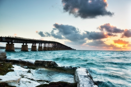 Old Bahia Railroad bridge at sunrise. Florida Keys Islands, USA. photo