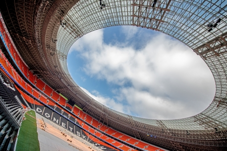 DONETSK, UKRAINE - MARCH 11: Newly built Donbass Arena stadium for 50000 spectators. The stadium was built specifically for the Euro 2012 Championship. March 11, 2012 in Donetsk, Ukraine