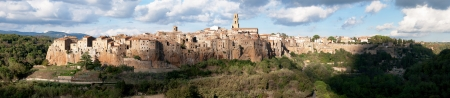 Medieval Pitigliano town in Italy. Panoramic image photo
