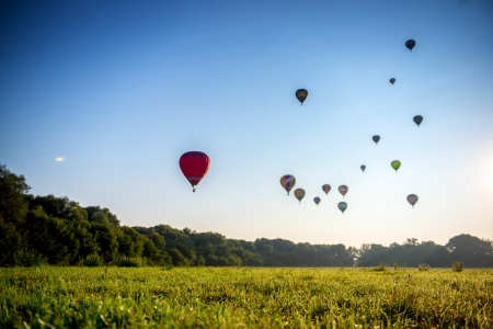 weather balloon: Hot-air balloon in the air in Russia. Stock Photo