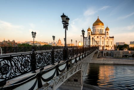 pedestrians: The iconic temple of Christ the Savior at the early morning in Moscow, Russia. Stock Photo