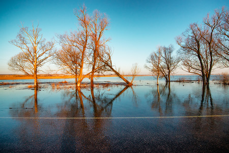 hight: Rural road covered by hight water during spring flood  Stock Photo