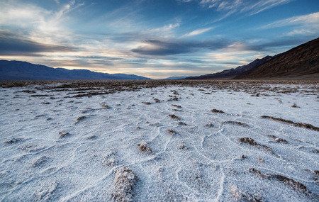 Salt pans of the Badwater basin, the 85.5 meters below sea level. Death Valley, USA