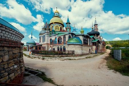 dome of hindu temple: Temple of all religions in Kazan, Tatarstan republic, Russia.