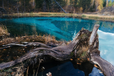 Surreal landscape with Blue geyser lake in Altay mountains. Blue because of the clay at the bottom.