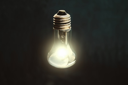 Light bulb on black