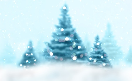 Christmas background fir-trees with decoration and snow Stock Photo