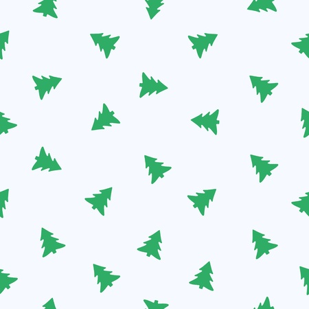 Seamless vector pattern, fir tree isolated on whit background