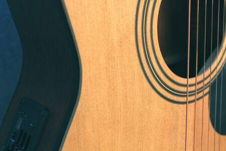 Acoustic guitar close up Banco de Imagens