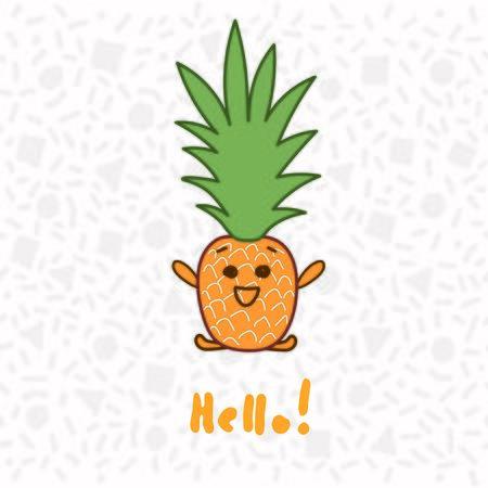 Cute hand drawn pineapple saying Hello, vector illustration Ilustrace