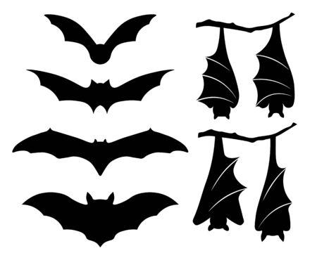Bat collection silhouette, autumn halloween background Vecteurs