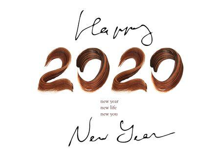 Hand drawn 2020 happy new year background
