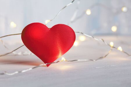 Romantic red heart with bokeh soft light