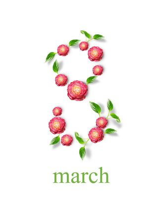 The number eight from flowers, woman's day, 8 march, spring background