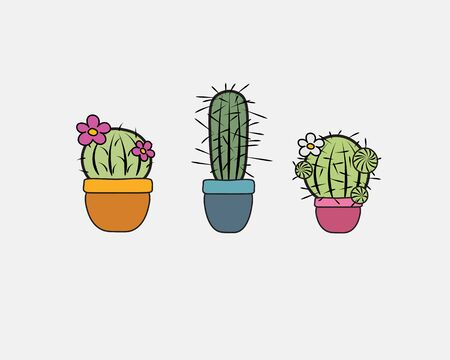Cute little cactuces, vector illustration