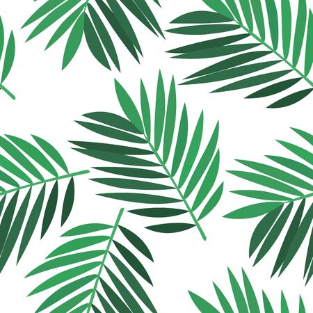 Beautiful background - green palm leaves, seamless vector illustration Иллюстрация