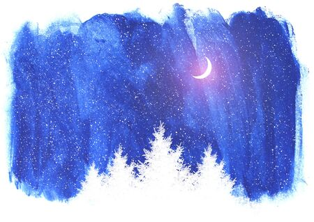 Interesting blue nature backgground with fir trees and moon