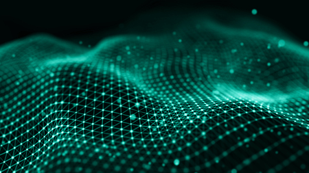 Data technology illustration. Wave with connecting dots and lines on dark background. Wave of particles. 3D rendering.