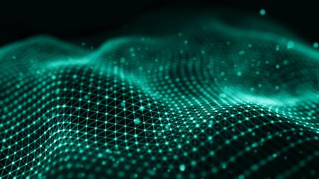 Ilustracja technologii danych. Fala z łączącymi kropkami i liniami na ciemnym tle. Fala cząstek. Renderowanie 3D. Zdjęcie Seryjne