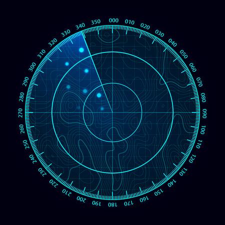 Pantalla de radar azul de vector. Sistema de búsqueda militar. Pantalla de radar futurista HUD. Interfaz futurista de HUD.