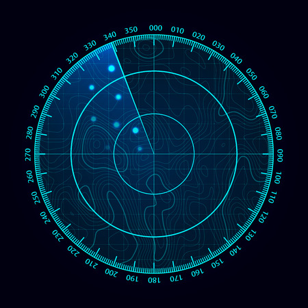 Vector blue radar screen. Military search system. Futuristic HUD radar display. Futuristic HUD interface.