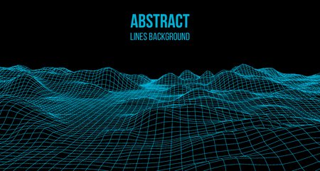 Wireframe landscape wire. Wireframe terrain landscape design. 3d landscape
