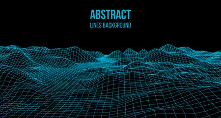 Wireframe-Landschaftsdraht. Wireframe-Geländelandschaftsdesign. 3D-Landschaft Vektorgrafik