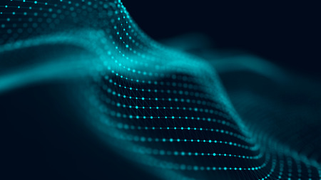Wave of particles. Abstract background with a futuristic wave. Big data. 3d rendering.