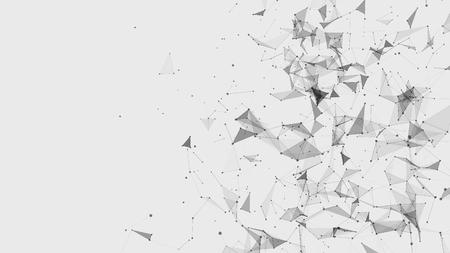 Technische achtergrond. Plexus-effect. Abstracte veelhoekige achtergrond met aansluitende stippen en lijnen. Verbinding technologie achtergrond. 3D-weergave.