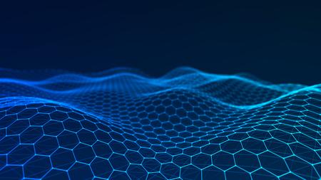 Muziek abstracte achtergrond. Netwerkverbinding. 3D-weergave. Stockfoto
