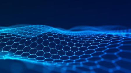 Welle von Teilchen. Abstrakter Hintergrund mit einer dynamischen Welle. 3D-Rendering. Standard-Bild