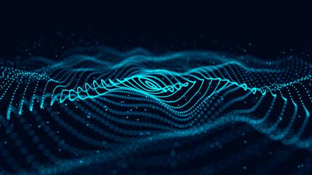 Ola de partículas. Fondo abstracto con una onda dinámica. Representación 3D.