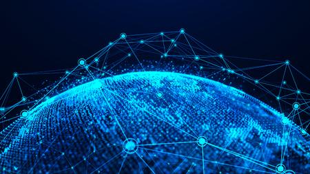 Global network concept. Global network planet Earth. 3D rendering. Reklamní fotografie