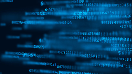 Digital background matrix binary computer code. 3d rendering.