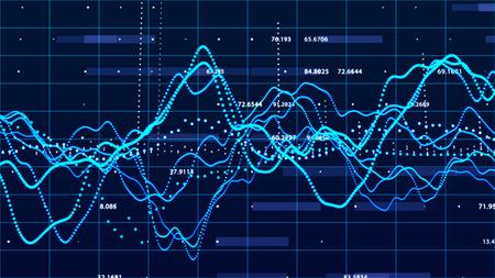 Grafico del mercato azionario. Visualizzazione di grandi dati. concetto di grafico di investimento.