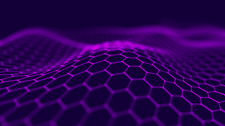 Futuristic hexagon background. Big data connection background. 3D rendering. Фото со стока