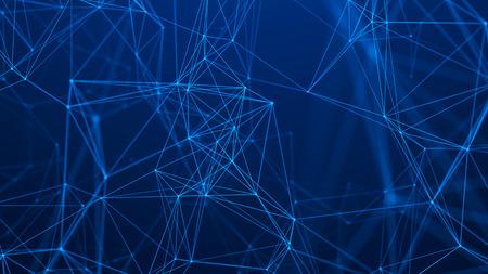 Estructura de conexión de red. Fondo de tecnología abstracta. Fondo futurista. Fondo digital de datos grandes. Representación 3D.