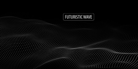 Wave of particles. Abstract background with a dynamic wave. Big data. Vector illustration. Иллюстрация