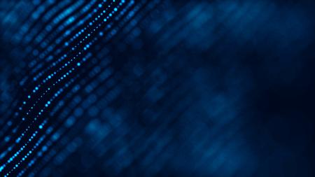 Welle von Teilchen. Abstrakter Hintergrund mit einer futuristischen Welle. 3D-Rendering. Standard-Bild