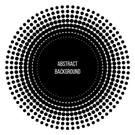 Black abstract vector circle. Vector illustration. Logo. Halftone circles.