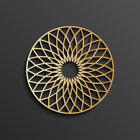 Islamic 3d circle mandala. Gold round pattern, moroccan ornament, arabic decor design, ramadan kareem, vector illustration