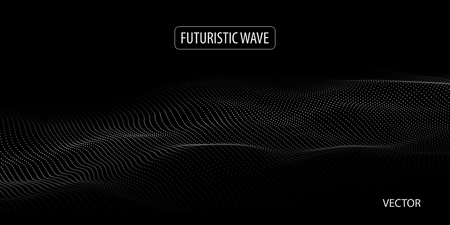 Wave of particles. Abstract background with a dynamic wave. Big data. Vector illustration. Ilustracja