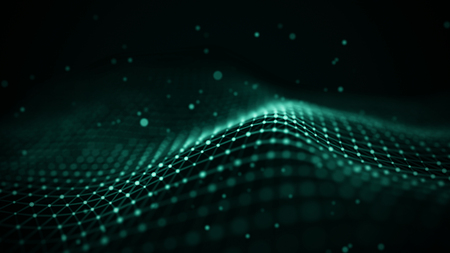 Data technology illustration. Abstract futuristic background. Wave with connecting dots and lines on dark background. Wave of particles. Фото со стока
