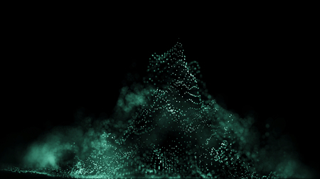 Big data visualization 3D. Technology wave. Analytics representation. Digital background. Wave of particles. Big data.