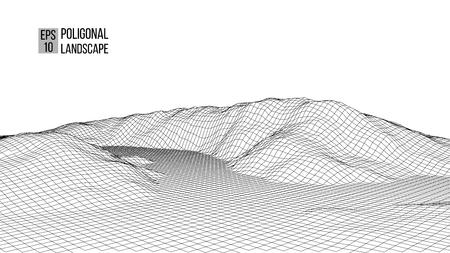 Wireframe-Landschaftsdraht. Wireframe-Geländepolygon-Landschaftsdesign. 3D-Landschaft