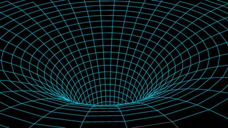 Tunnel ou trou de ver. Science abstraite des trous de ver. Grille de tunnel 3D.Tunnel de surface 3D filaire.Texture de la grille Vecteurs