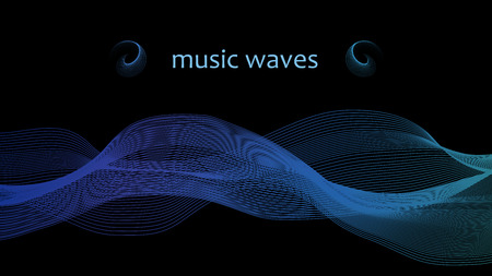 Music wave of many lines. Vector graphic waves. Abstract wave element for design.